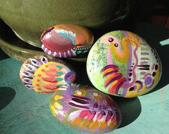 Desert dancer colorful abstract hand painted garden rocks