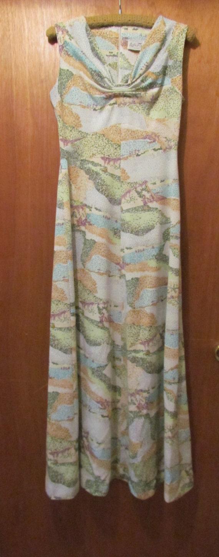 Leslie Fay Knits, vintage dress, vintage clothes, vintage maxi dress, polyester dress, long vintage dress, 1960's closet, vintage closet