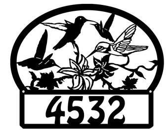 Hummingbird Metal Address Sign Metal House Number sign Home Decor Hummingbird Metal Address Number Plaque,Hummingbird Address Numbers