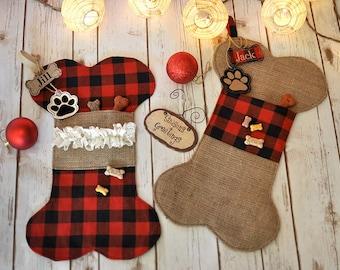 Puppy Dog Christmas Stocking - Bone Stocking Burlap and Buffalo Plaid - Hand-Crafted Dog Bone Pet Stockings - Personalized Holiday Stocking