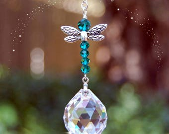 Emerald Green Dragonfly Crystal Suncatcher, Rearview Car Charm, Window Prism  Dragonfly Ornament, Transformation and Change