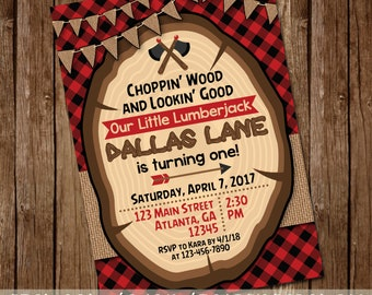 Choppin' Wood and Lookin' Good Rustic Lumberjack Invitation - Wood Slice, Burlap, Buffalo Check Invite - Boy's First Birthday, Baby Shower