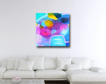 Large Canvas Wall Art, Blue Abstract Canvas, Giclee Print from painting, Large Blue Abstract Art Painting, Canvas Print, blue pink artwork
