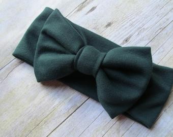 Baby headwrap, baby head wrap, baby bow headwrap, baby bow headband, turban headband, big bow headband, Hunter Green Baby Shower Gift