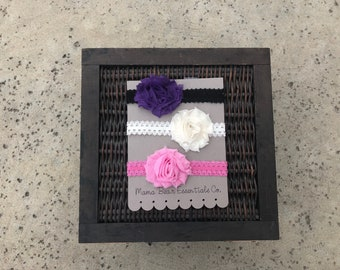 Baby girl flower, fabric, and elastic lace headbands