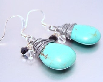 Turquoise Briolette Earrings with Black Clear Crystals