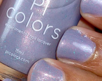 Morning Dew.092 Nail Polish Lilac Purple with Green Glitter