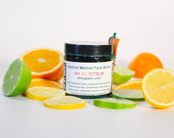 Apricot Walnut Cleansing Face Scrub with French Green Clay - Oh So Citrus - Lemon, Lime, Tangerine and Wild Orange - All Natural Gentle