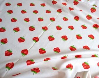 Vintage Fabric - Polka Dot Strawberries - Woven Cotton Broadcloth - One Yard