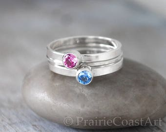Two Birthstone Ring SET in Sterling Silver - Choose Two Birthstones - Moms Rings - Aquamarine, Topaz, Peridot, CZ, Topaz, Pink Tourmaline +