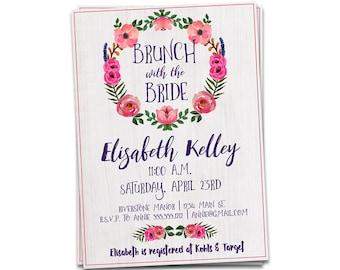 Brunch with the Bride Invitation, Bridal Shower Invitation, Printable Bridal Shower Invitation, Bridal Brunch Invitation, Brunch Invitation