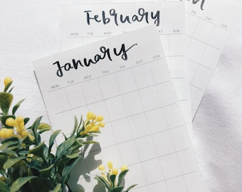Hand lettered blank 12 months calendar sticker, bullet journal, hand lettering, calendar, calendar stickers, agenda, journal, 2018, monthly