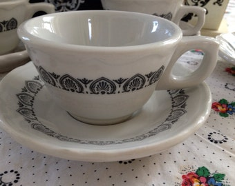 Set of 4 Shenango Restaurant Ware Tea Cup and Saucer Sets