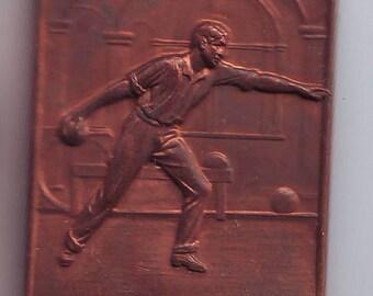 Bronze Athletics Bowling  Plaque Plaquette Ex August  Frank Philadelphia PA