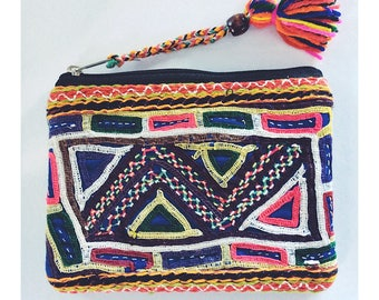 Zigzag Hand Embroidered Purse From Afghanistan Made from Vintage Textiles