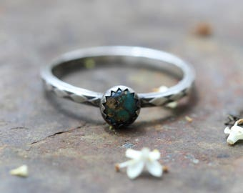 sterling Silver turquoise stacking ring tribal native Patterned Stacking Rings