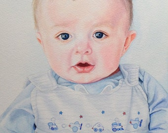 Custom Watercolor Portrait, Custom Painting, Custom Portrait in Watercolor, Baby Portrait, Commission Portrait Painting, Hand painted