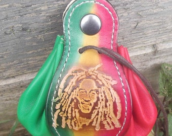 Leather  pouch, , rasta design and colours
