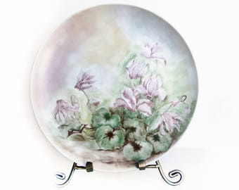 Vintage Hand Painted Ceramic Plate Floral Design ~ Cyclamen Flowers and Leaves ~ Pink, Green and Yellow