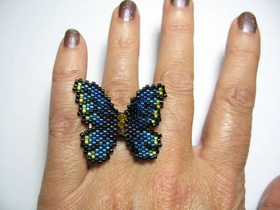 Tutorial Bead Butterfly Ring Lapel Pin Peyote Pattern Pdf