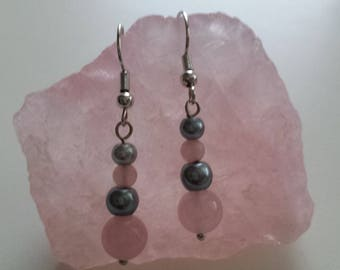 Rose Quartz & Silver Glass Pearl Earrings. Silver Plated. Non-allergic.