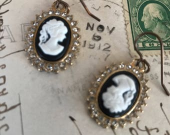 Topsy Turvy Upcycled cameo earrings