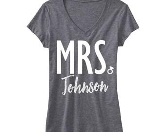 CUSTOM MRS. GLITTER Bride Shirt Silver Gray V-neck - Add your name, Bride Gift, Wedding shirt, Bridal shirt, Bride Vneck, wedding
