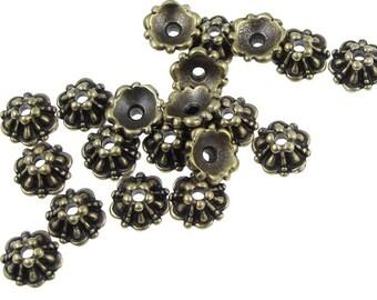 TierraCast 5mm Tiffany Beadcaps - Antique Brass Bead Caps - Brass Oxide Bronze Bead Caps - Small Delicate Caps (PAC3)