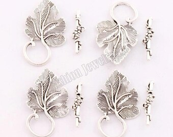 clasps T 35 * 20 mm, set of 4 silver vine leaf