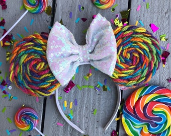 Rainbow lollipop colorful inspired mouse ears