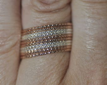 New Old Stock - Vintage Stacking Rings Sterling Silver beaded bands and Rose gold plated