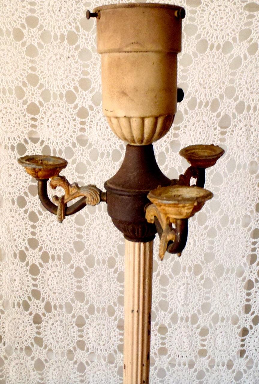Vintage candelabra torchiere three arm art deco metal zoom aloadofball Gallery