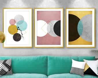 SALE, Set of 3, Modern art, Abstract wall art, Print set, Living room art, Bedroom wall art, Mint, Pink, wall art, Minimalist print, Giclee