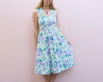 Vintage Floral Print Summer Midi Dress