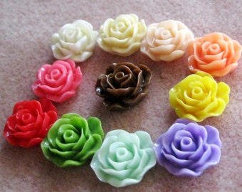 Ruffled Rose Flower Cabochon Acrylic Lucite Resin You Choose Colors 19mm 923