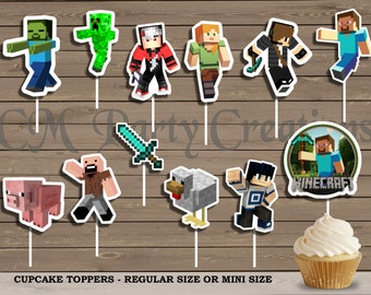 Minecraft Cupcake Toppers, Die Cuts, Birthday Party Cupcake Toppers