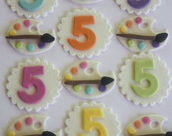 12 fondant cupcake toppers--paint palette, artists' palette and numbers