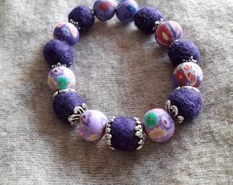 Wool bead purple braclet