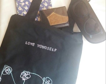 BTS' Love Yourself album inspired tote bag