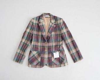 dusty plaid blazer | 70s plaid jacket | plaid wool blazer