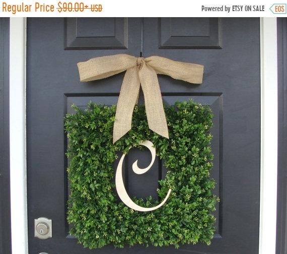SUMMER WREATH SALE Monogram Boxwood Wreath, Boxwood Monogram Wreath with Burlap Bow, Housewarming Gift, Wedding Wreath 16-22 Inch Wreath ava