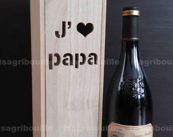 Fête des pères - caisse pour bouteille de vin personnalisée