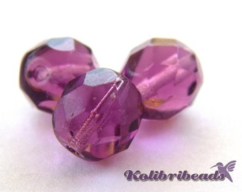 Fire polished Czech Glass Beads 8 mm - Amethyst