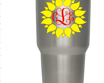 Monogram Decal, Sunflower Monogram Decal, Yeti Decal,  Monogram Sticker, Monogram Car Decal, Monogram Laptop Sticker, Sunflower