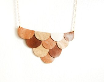 Leather Scallop Petals Necklace - Bokeh Honey Brown Coffee and Cream Palette - Made to Order - Gift for Her - Leather Anniversary Gift