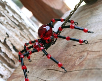 Beaded Spider - Hair Bobby Pin, Lapel Pin, Pendant or  Halloween Decoration, Ruby Red on Black, Gothic Wedding by Smash Gardens on Etsy