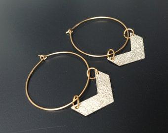 gold plated hoop earrings glitter chevron