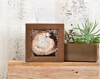 5x5 inch Square Picture Frame in 1x1 Flat Style in Solid Natural Walnut - IN STOCK - Same Day Shipping - 5 x 5 Photo Frame - Solid Hardwood