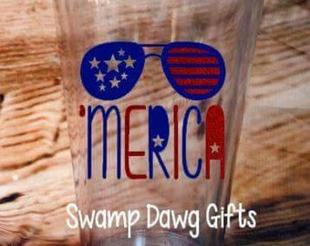 Merica Tumbler, Fourth of July cup, Fourth of July, 'Merica, cup, drinkware, vinyl, red white and blue, memorial day, labor day, party cup