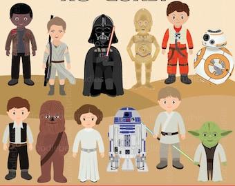 Starwars Clipart, Star Wars No Guns, The Force Awakens Clipart, Starwars Digital, R2D2, CP30, BB8, Light Saber Clipart, Star Wars Clipart